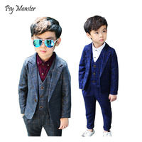2018 Flower Boys Plaid Wedding Suit Brand England Style Gentle Boy Formal Tuxedos Suit Kids Spring 3Pcs Clothing Set Costume N68