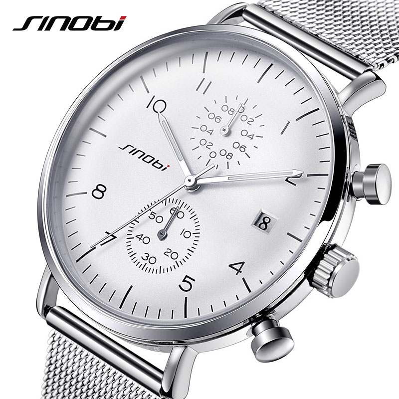 SINOBI Watches Men Luxury Brand Stainless Steel Waterproof Quartz Men's Wrist Watch Male Clock Silver relogio masculino 2018 New 2017 new watches men luxury brand fedylon fashion casual full steel quartz wrist watch waterproof male clock relogio masculino