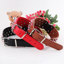 Pearl bullet dog collar bite proof rivet collar 4 size spiked leash spike collar Studded PU leather PitBull