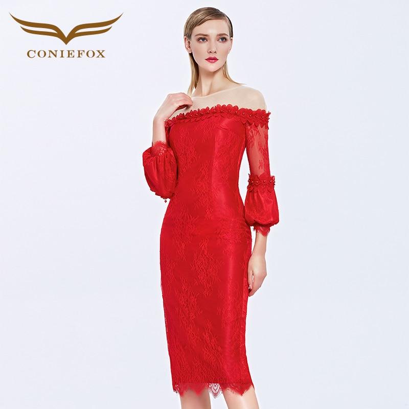 Coniefox 31385 Women Birthday avondjurk Formal Bridesmaid Banquet red caftan vestidos de festa coolie Dress abiye gece elbisesi
