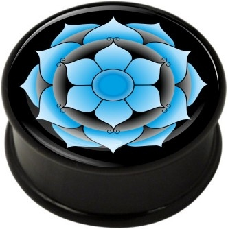 1 pair blue lotus single flare ear plug gauges tunnel flesh tunnel with rubber ring body piercing jewelry