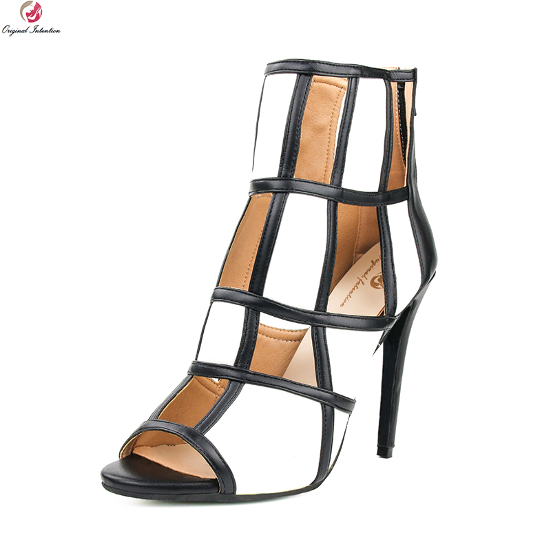 original intention super sexy women sandals fashion open toe thin high heels fashion black red shoes woman plus us size 4 15 Original Intention Elegant Women Sandals Fashion Open Toe Thin Heels Stylish Black Red Multicolors Shoes Woman Plus US Size 4-15