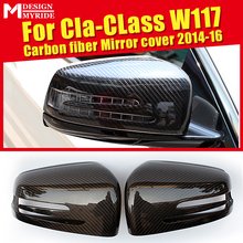 For Mercedes W117 Wing Door Mirror Cover CLA45AMG look 2pcs Carbon fiber Cla class cla180 200 250 1:1 Replacement OEM-Fit 14-16