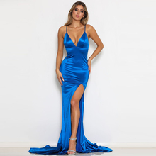 Blue Satin Evening Dress Gown Slit Front Floor Length Padded Stretch Wedding Party Dress Prom Dress button front denim slit dress