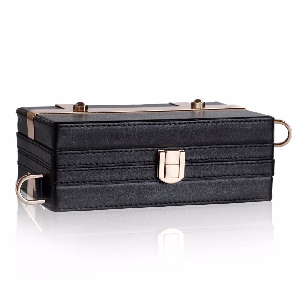New Fashion Storage Box Trinket Cards White Black Metal Bag PU Leather Strap Carrying Travel Case