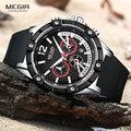Megir Sport Silikon Chronograph Quarz Handgelenk Uhren für Männer Mann der Wasserdichte 24 Stunden Uhr Relogios Masculinos 2083GS BK 1|Quarz-Uhren|Uhren -