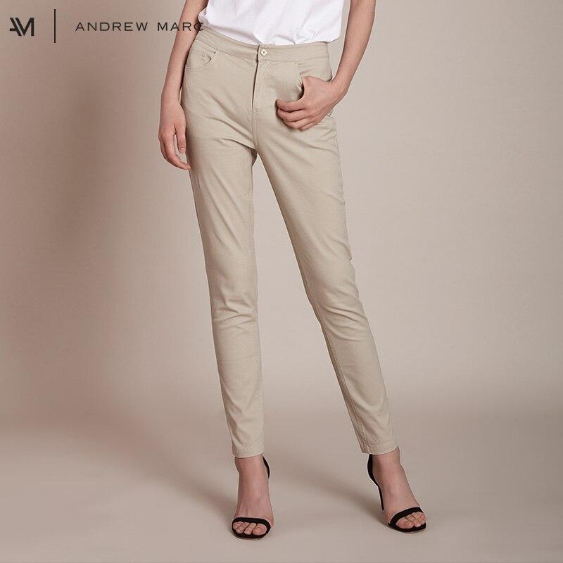 ANDRRW MARC 2018 Woman Casual Ankle Length Pencil Pants Business Daily Cotton Trouser Female TW8GJ200