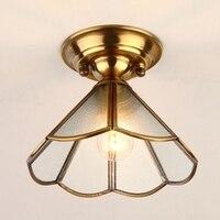 LukLoy LED European Style Ceiling Light Retro Glass Lamp Brass Body Lighting for Corridor Aisle Hallway Living Room and Bathroom