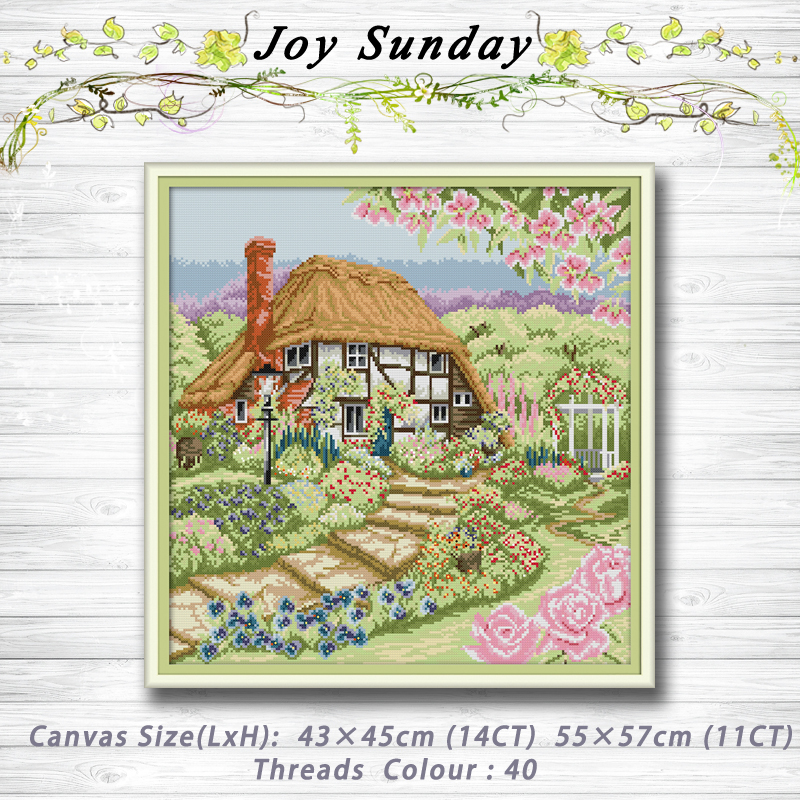 Rose Cottage scenery decor painting 14CT 11CT counted cross stitch kits embroidery sets Needlework Sets Home decor