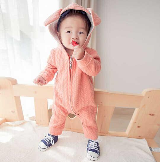 JP-043 детские комбинезоны зимние милые комбинезоны с длинными рукавами и капюшоном с кроликом для малышей Одежда для маленьких мальчиков и девочек хлопковая теплая одежда для новорожденных
