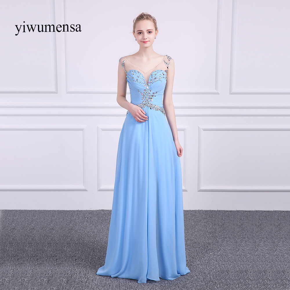 Real Picture Luxury Crystals Elegant   Prom     Dresses   2018 Beaded Rhinestones Chiffon Formal Long Evening Gowns Robe de Soiree