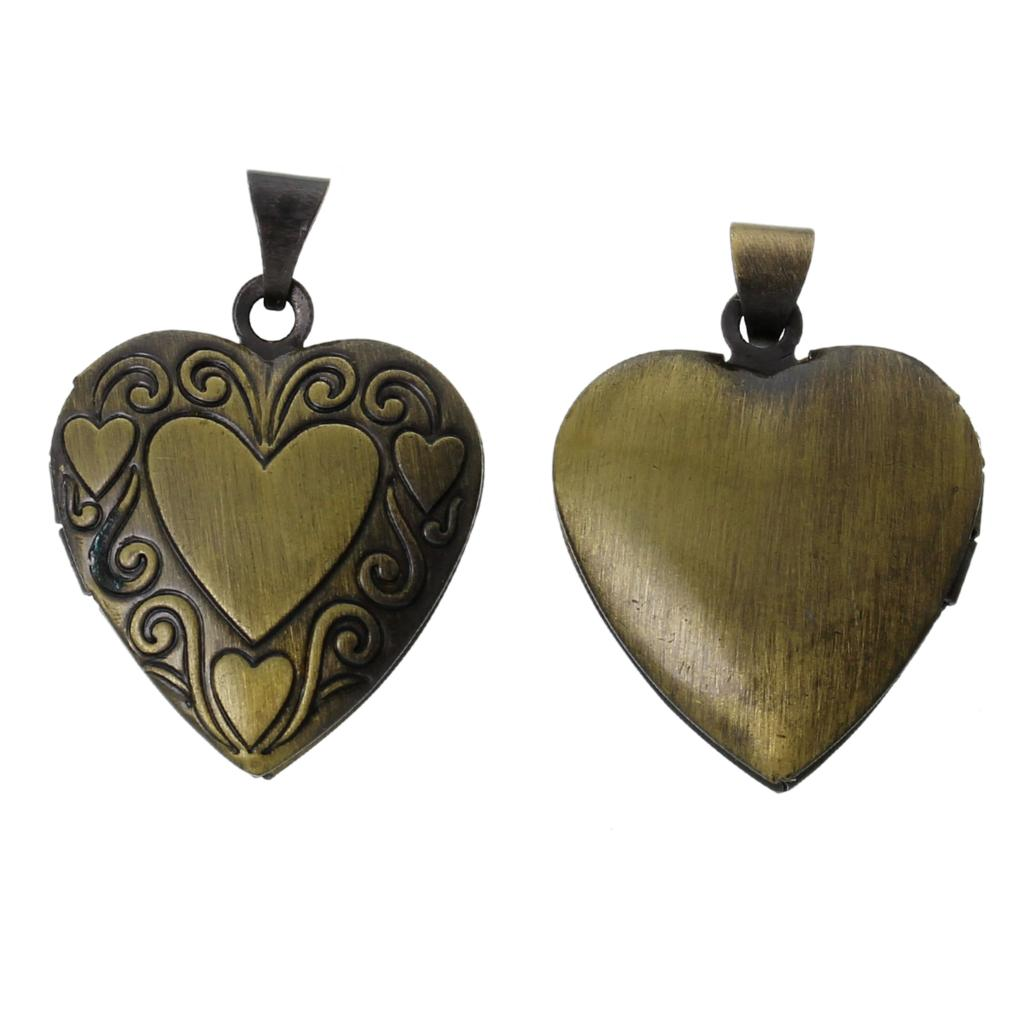 8seasons frame pendants picturephoto locket heart antique bronze can openfits 14mm x11mm