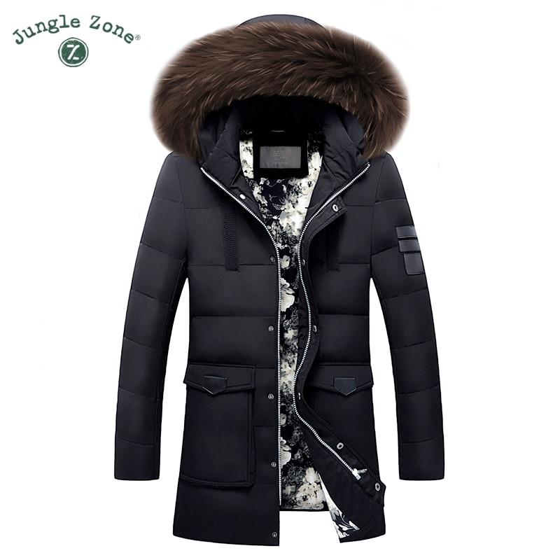 Homens Jaqueta de Pato Para Baixo Plus Size Pato Branco Para Baixo Casacos de Inverno XXL XXXL Zipper Casaco gola de pele Natural para inverno Quente roupas Casaco