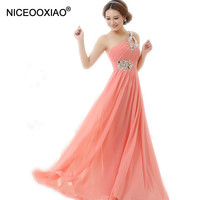 FZLF15 Vestido De Festa Longo Pink Formal Long Evening Dresses 2016 New Arrival One Shoulder Chiffon