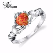 Jewelrypalace orange ópalo de fuego negro irlandés claddagh anillo esterlina del sólido 925 de plata del corazón del amor de la amistad de la joyería