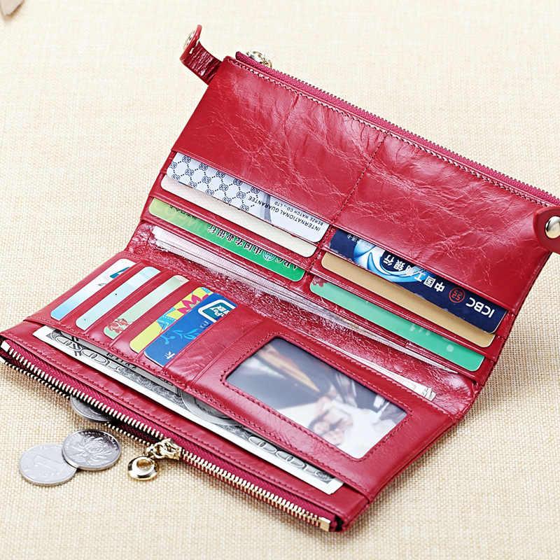 Mulheres Carteira De Couro Genuíno Projeto Duplo Zíper bolsa de Moedas de Moda Feminina Fino Couro Do Couro Carteiras Titular Do Cartão de ID