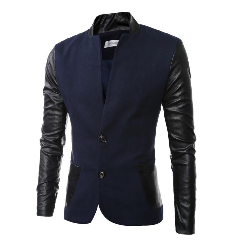 Autumn Winter New Mens Coats Outerwear Jacket Fashion Design PU Stitching Stand Collar Overcoat Clothing Men Male Tops 3 Colour