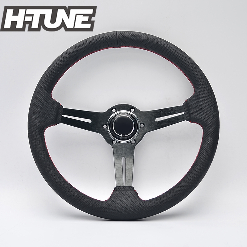 H-TUNE 350mm Universal Genuine Leather Breathable Auto ND Racing Steering Wheel ...