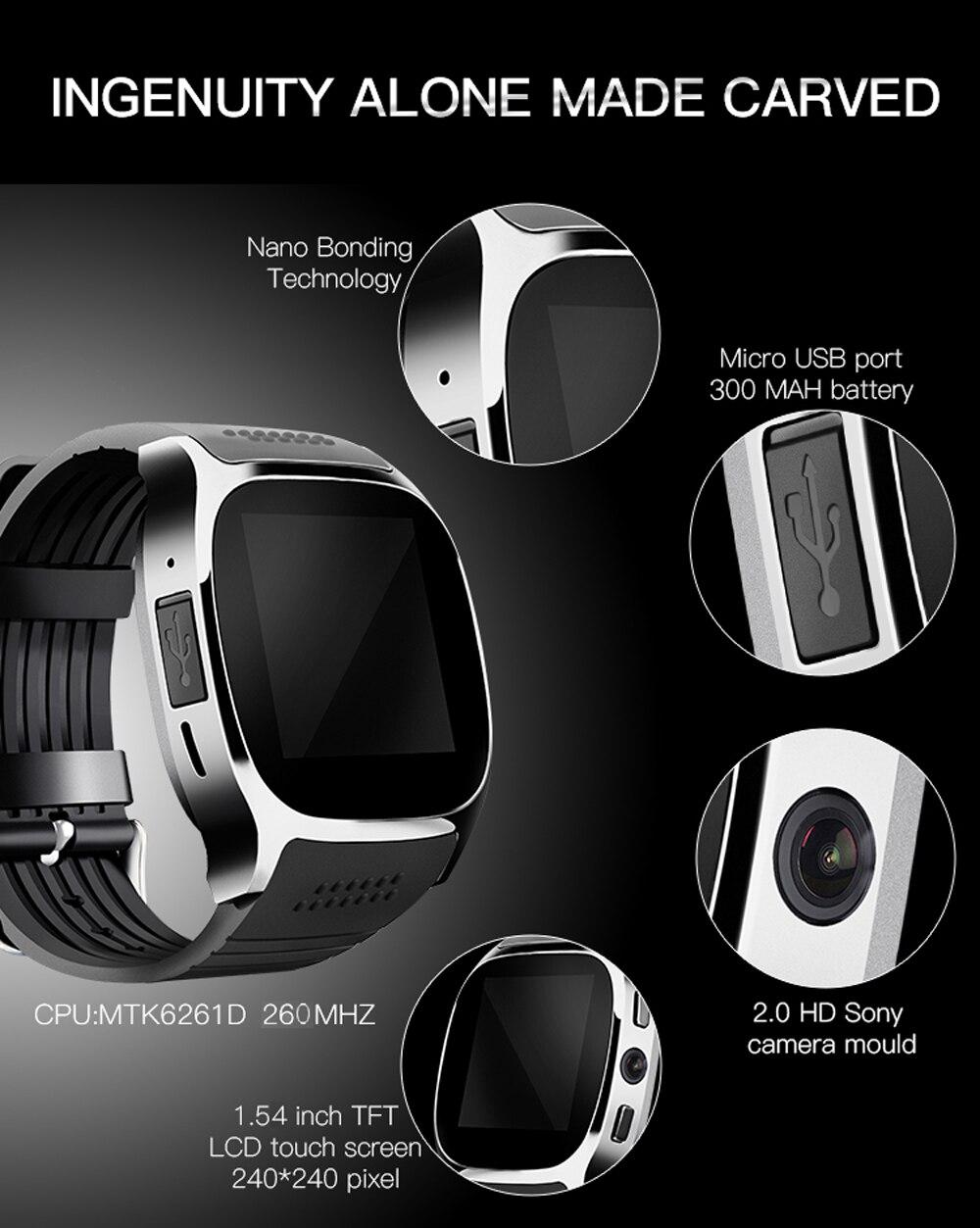 2018 new Originele T8 Bluetooth Smart Horloge Met Camera Muziekspeler Facebook Whatsapp  ...
