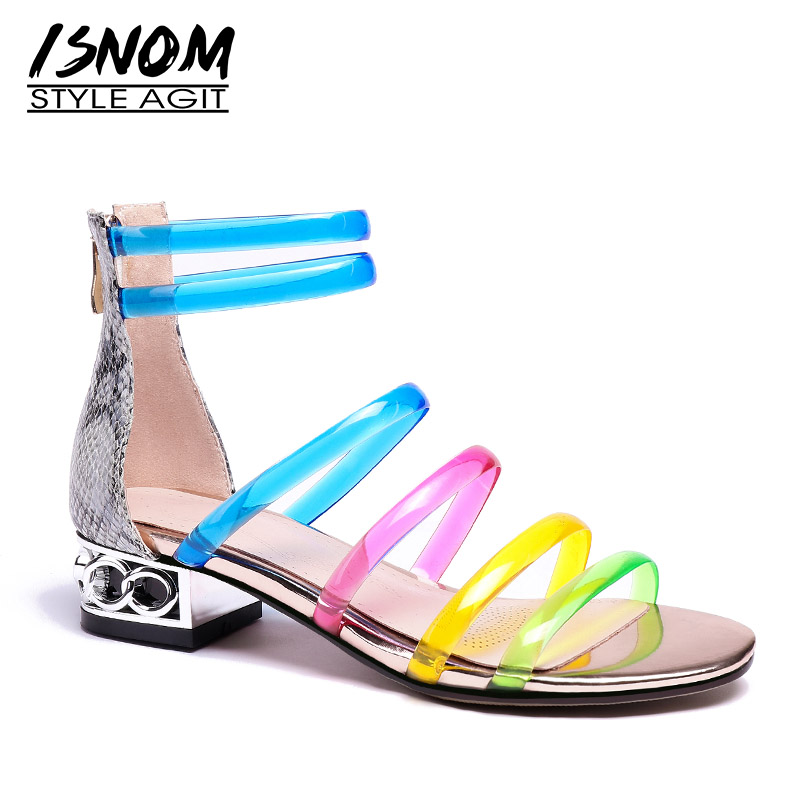 ISNOM Snake Sandals Women Open Toe Footwear Multi Color Sandals Unusual Heels Shoes Ankle Strap Shoes