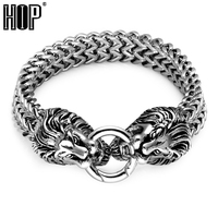 HIP Punk Rock Lion Head Bracelet 220 MÉT Dài 316L Thép Không Gỉ Đôi Đuôi Chồn Box Kết Lắc Vòng Tay cho Nam Giới Trang Sức