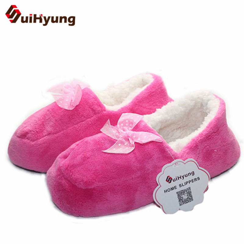 Suihyung New Women Winter Warm Home Slippers Plush Cashmere Indoor Shoes With Butterfly-knot Non-slip Soft Floor Female Slippers suihyung funny rabbit shape women winter home slippers plush indoor floor shoes female warm furry soft bottom slippers chinelos