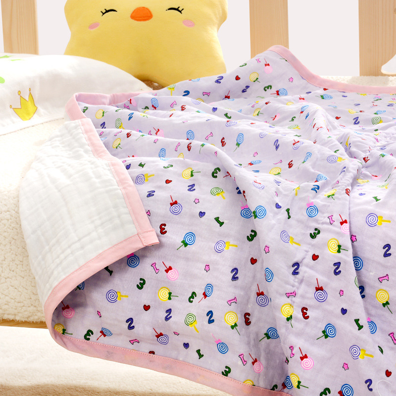Newborn Muslin Blanket Bedding 110 CM Baby Cotton Swaddle Wrap Kids 6 Layers Thicken Gauze Receiving blanket baby blanket bedding 110cm newborn muslin cotton swaddle wrap kids 6 layers thick receiving blanket gauze bath towel baby boys
