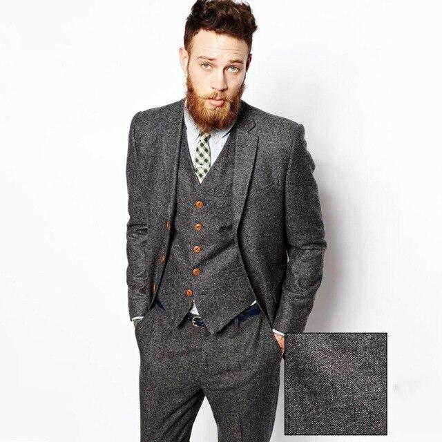2019 Latest Coat Pant Designs Winter Grey Tweed Men Suits Formal Slim Fit Blazer Custom Herringbone Tuxedo 3 Piece Suits For Man