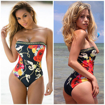abe2921d00854 SEXY Women one piece Black printed Floral Ruched bikini bandeau off  shoulder Swimsuit swimwear bathing suit beachwear biquini -in Body Suits  from Sports ...