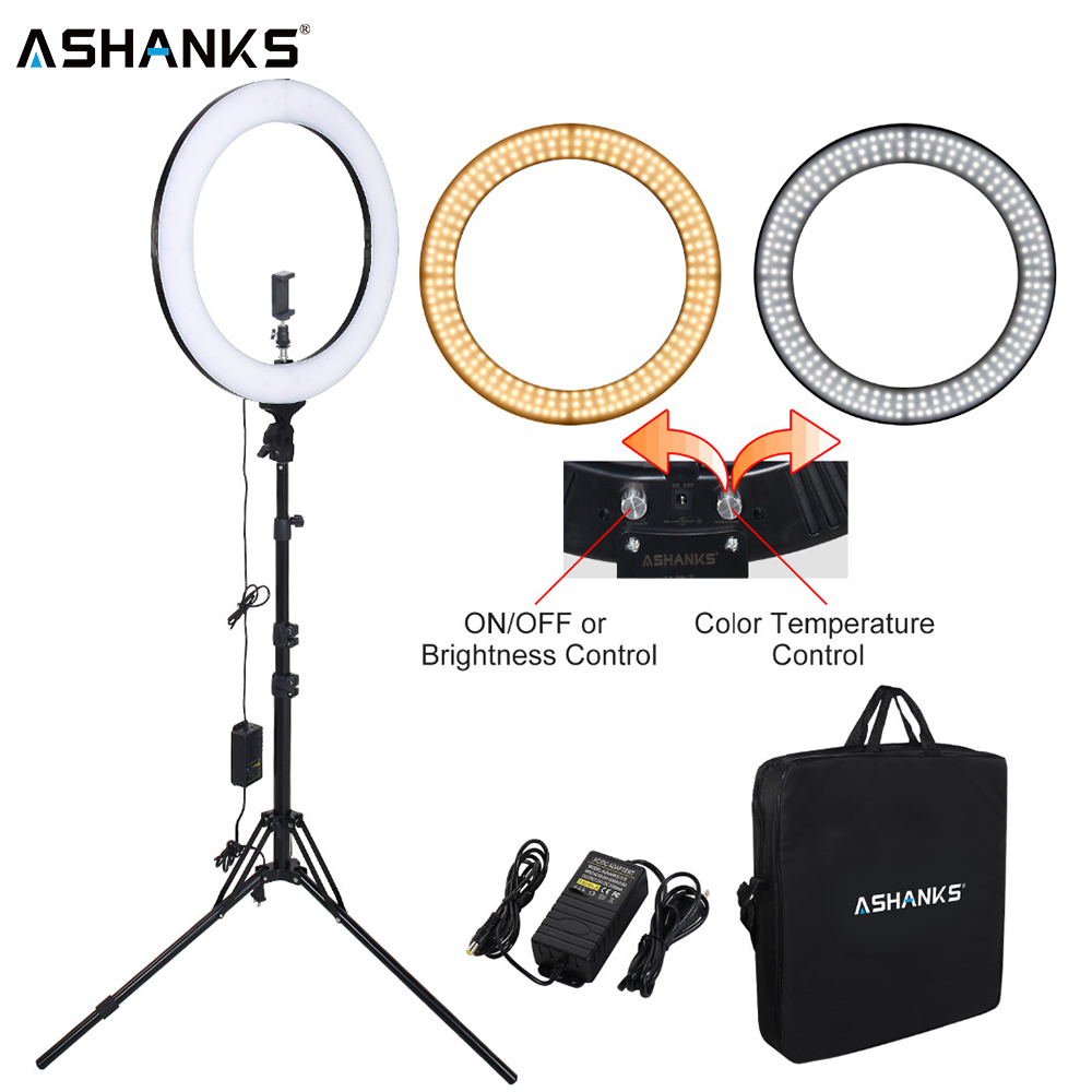 ASHANKS RL-18 Dimmable photography ring light with carry bag 448pcs led beads 55w ringlight lamp for makeup & light tripod(China)