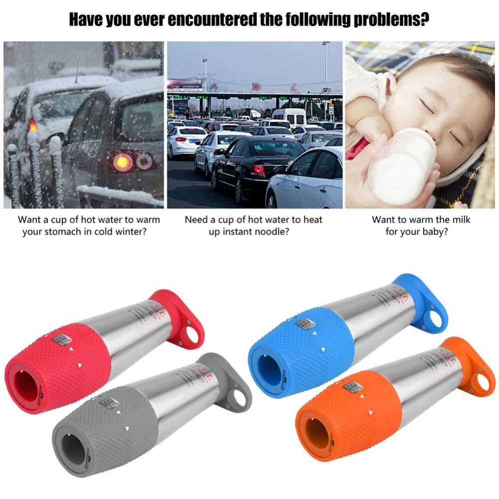 Car Vacuum Insulated Electric Travel Heating Cup Water Boiling Mug Kettle 12V 80W Stainless Steel Car