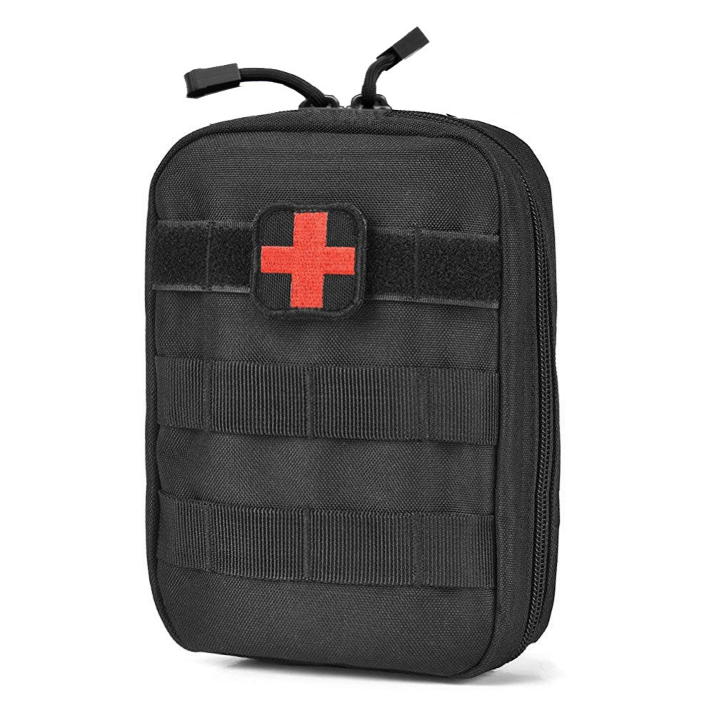 Tactical MOLLE EMT Medical First Aid Pouch Outdoor Medical Survival Bag Military Utility Pouches for Camping Hiking (Bag Only)