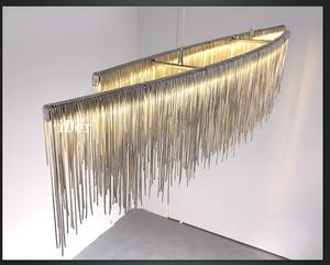 Image 4 - Postmodern designer Pendant Lights Nordic tassel restaurant luxury hotel engineering chain living room art hanging lights