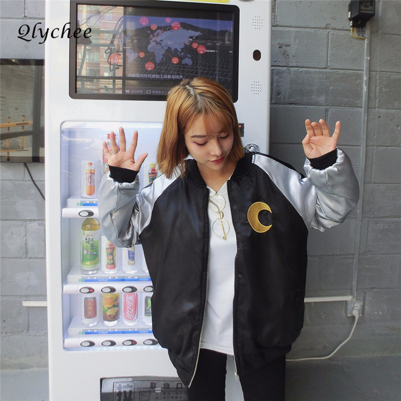 Qlychee Fashion Women Clothing Harajuku Basic Coat Satin Sailor Moon Jacket Embroidery Baseball Outerwear Jackets