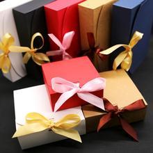 Подарочные коробки с лентой, свадебные подарочные коробки, подарочные коробки для детского душа, подарочные коробки для вечеринок 10 шт./лот