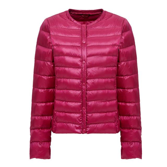 US $18.24 52% OFF|NewBang Tragbare Unten Jacke Frauen Ultra Licht Unten Jacke Dünne Dünne Kragen weniger Feder Jacken Frauen Warme Wind Mantel in