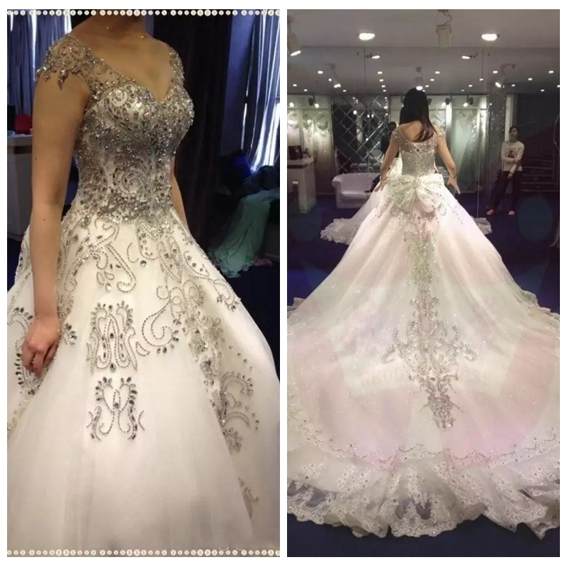 Luxurious Bling Bling Crystal Beaded Wedding Dresses Royal Lace Appliques Bridal Gowns Formal 2019 Robe De Marriage Custom