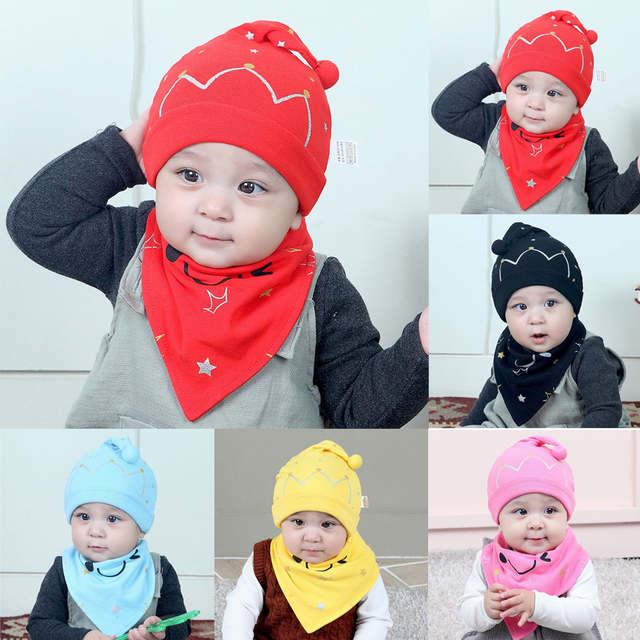 202b6e2744a placeholder 2PCS Set Cotton Baby Boy Girl Cap Hat Owl Hat Bib Head Scarf  Toddler Saliva Black