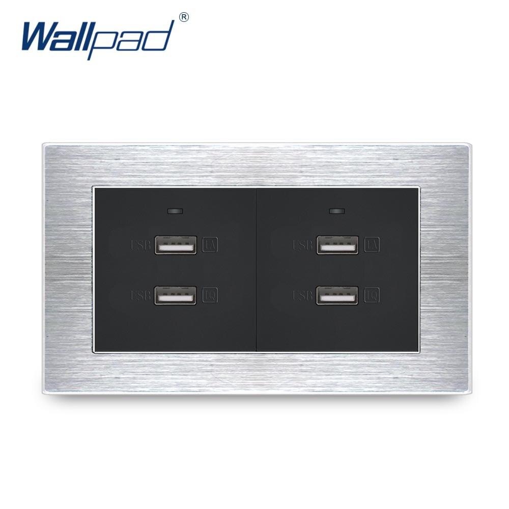 4 USB chargeur Wallpad luxe Satin métal panneau USB mur panneau de sortie double Usb charge rapide 5 V 3000MA