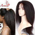 7A Gluless Lace Wigs Human Hair Black Women Lace Front Kinky Straight Wig Italian Yaki Coarse Yaki Full Lace Wig With Baby Hair