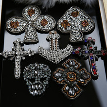 Handmade rhinestone beaded patches for clothing DIY Cross skull sewing patch embroidered applique decorative sequins Parches
