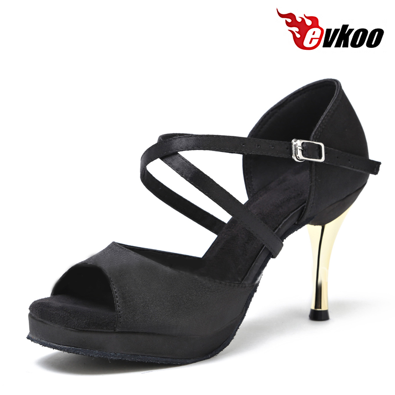 Evkoodance Zapatos De Baile Dames US4-12 Zwart Platform 8.5cm Comfortabel Latin Salsa Danszaal Dansschoenen Dames Evkoo-419