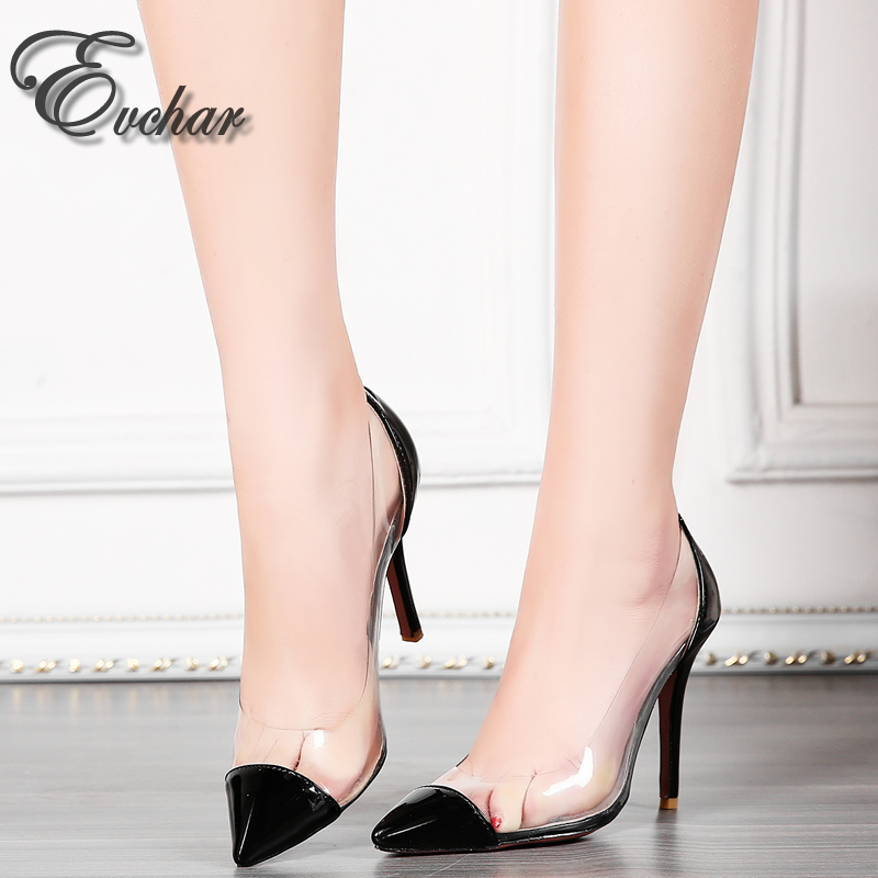 ФОТО Sexy High Heels New Transparencies  Shoes Pointed Toe Women Pumps slip-on shallow party Shoes Plus large Size  31-47