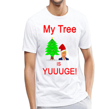 Funny Donald Trump My Christmas Tree is Yuuuge Print Ugly Christmas T Shirt for Men Hilarious Short Sleeve Xmas Tee Plus Size