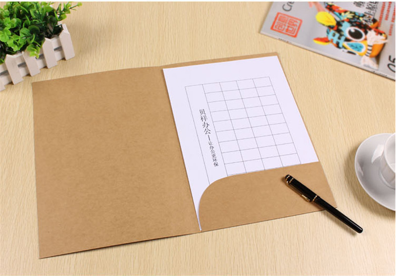 100 pcs a4 paper file folder with pocket white kraft and black colors to chose Size 22*31cm image