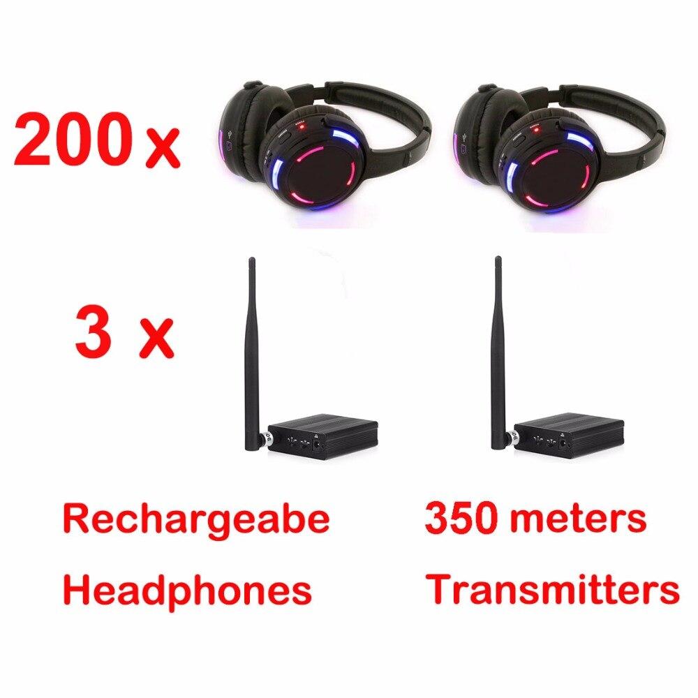 Écouteurs silencieux 500 LED de Disco de distance professionnelle de 200 m avec 3 émetteurs-RF sans fil pour la diffusion de réunion de club de DJ