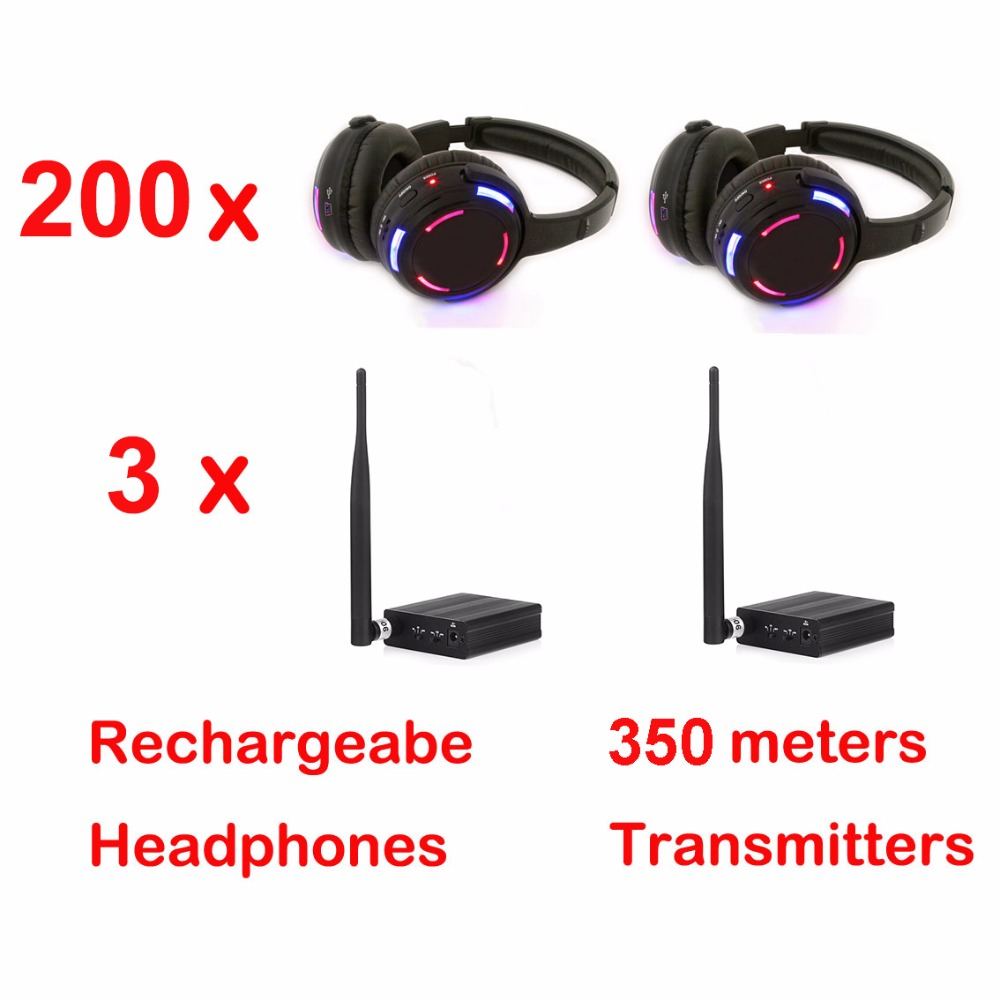Professional 500m distance Silent Disco 200 LED Headphones with 3 transmitters RF Wireless For DJ club party meeting broadcast
