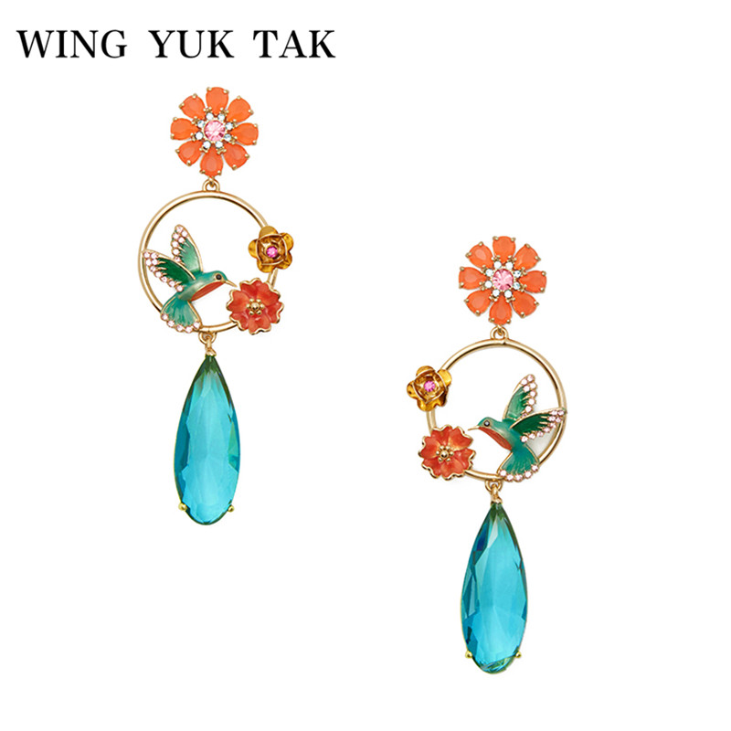wing yuk tak 2018 New Design Bohemia Charming Bird Enamel Flower Blue Crystal Water Drop Earrings For Women Fashion Party Bijoux long chain enamel bird shape drop earrings