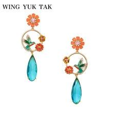 wing yuk tak 2018 New Design Bohemia Charming Bird Enamel Flower Blue Crystal Water Drop Earrings For Women Fashion Party Bijoux