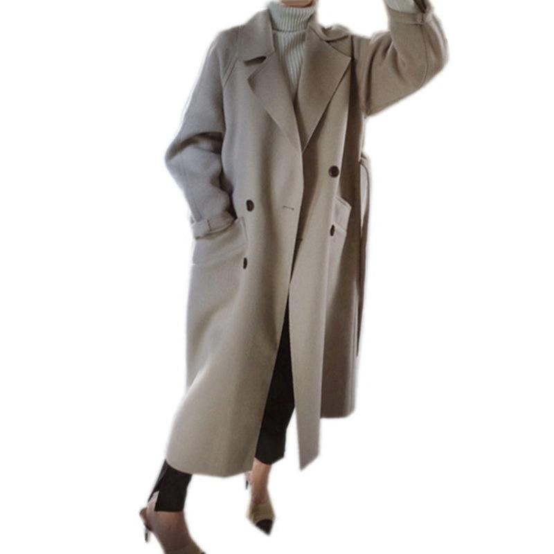 Nuovo Più apricot 2018 Elegante Vento A Lungo Delle Cappotto Femminile Giacca Formato Lana Di Il Semplicità Allentato Tratto Caramel Modo Colour Inverno Donne L0171 Casual ErdwSd